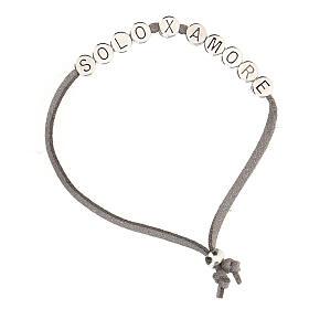 Bracelet alcantara gris Solo X Amore zamak s1