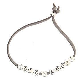 Bracelet alcantara gris Solo X Amore zamak s2
