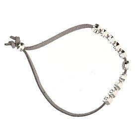 Bracelet alcantara gris Solo X Amore zamak s3