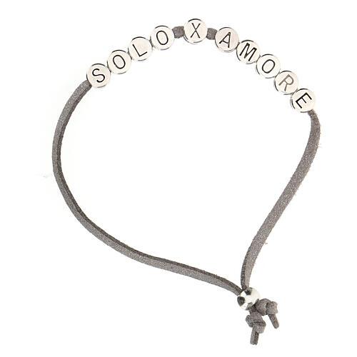 Bracelet alcantara gris Solo X Amore zamak 1