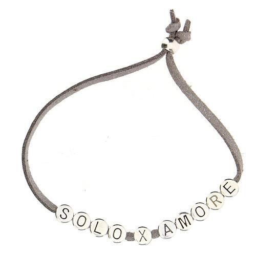 Bracelet alcantara gris Solo X Amore zamak 2