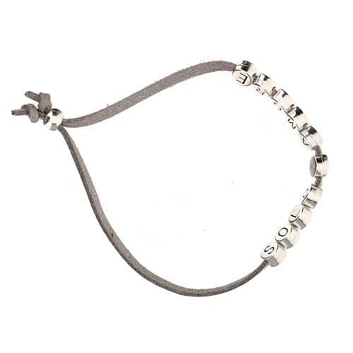 Bracelet alcantara gris Solo X Amore zamak 3