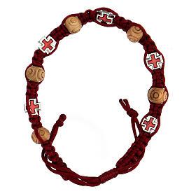 Bracciale decina in corda rossa grani legno 8x6 mm s1
