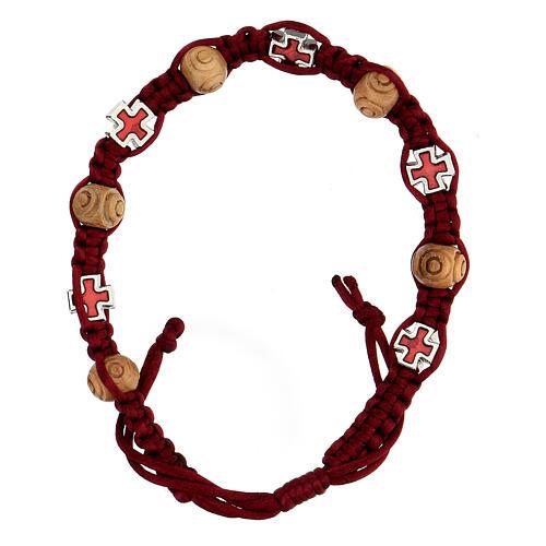 Bracciale decina in corda rossa grani legno 8x6 mm 1