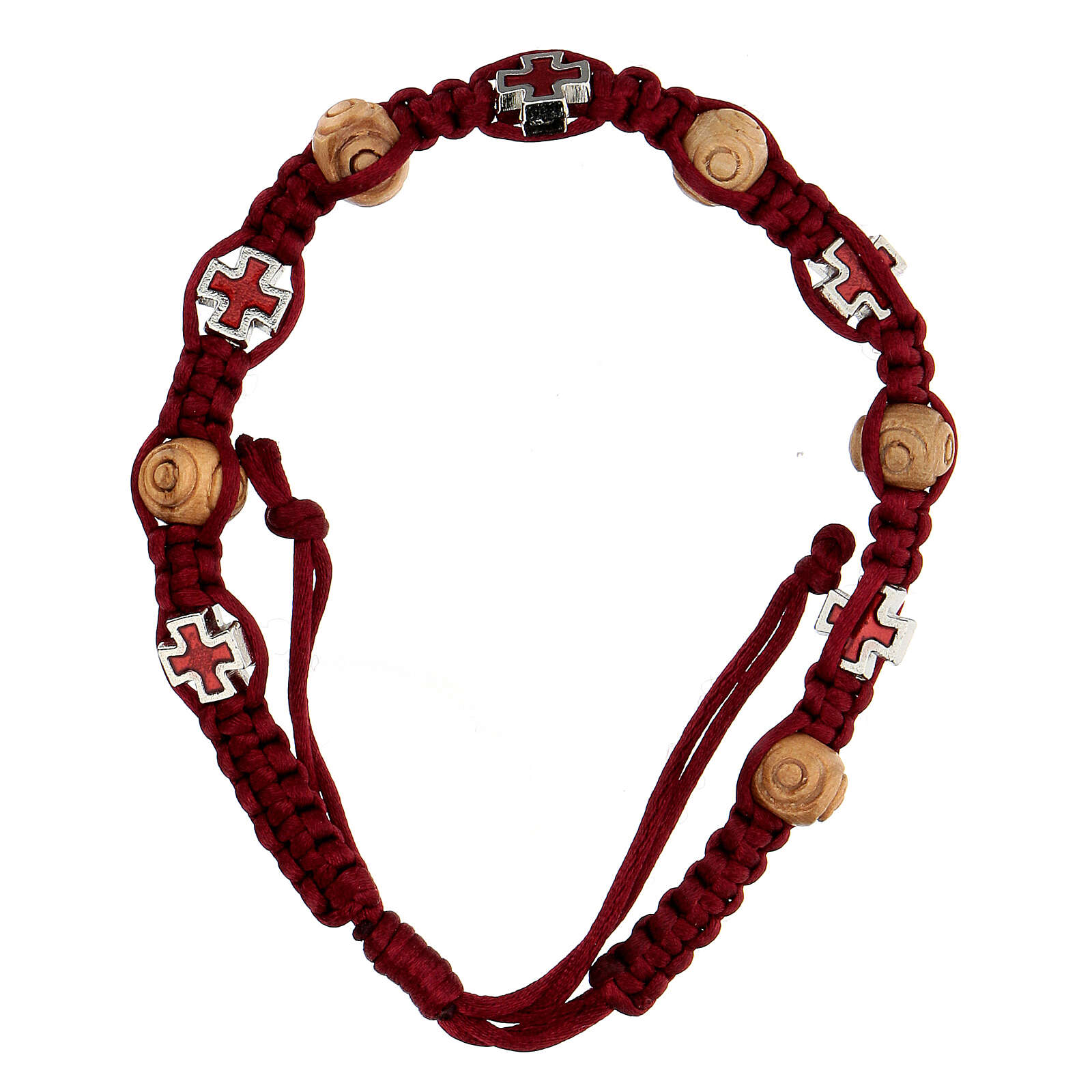 Rosary bracelet with red string wooden beads 8x6 mm 4
