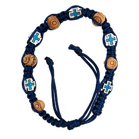 Rosary bracelet with blue adjustable string, wooden beads and crosses 8x6 mm s1