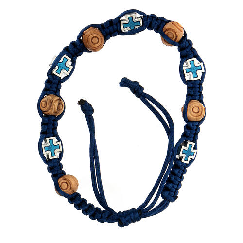 Rosary bracelet with blue adjustable string, wooden beads and crosses 8x6 mm 1
