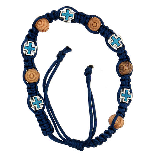 Rosary bracelet with blue adjustable string, wooden beads and crosses 8x6 mm 2