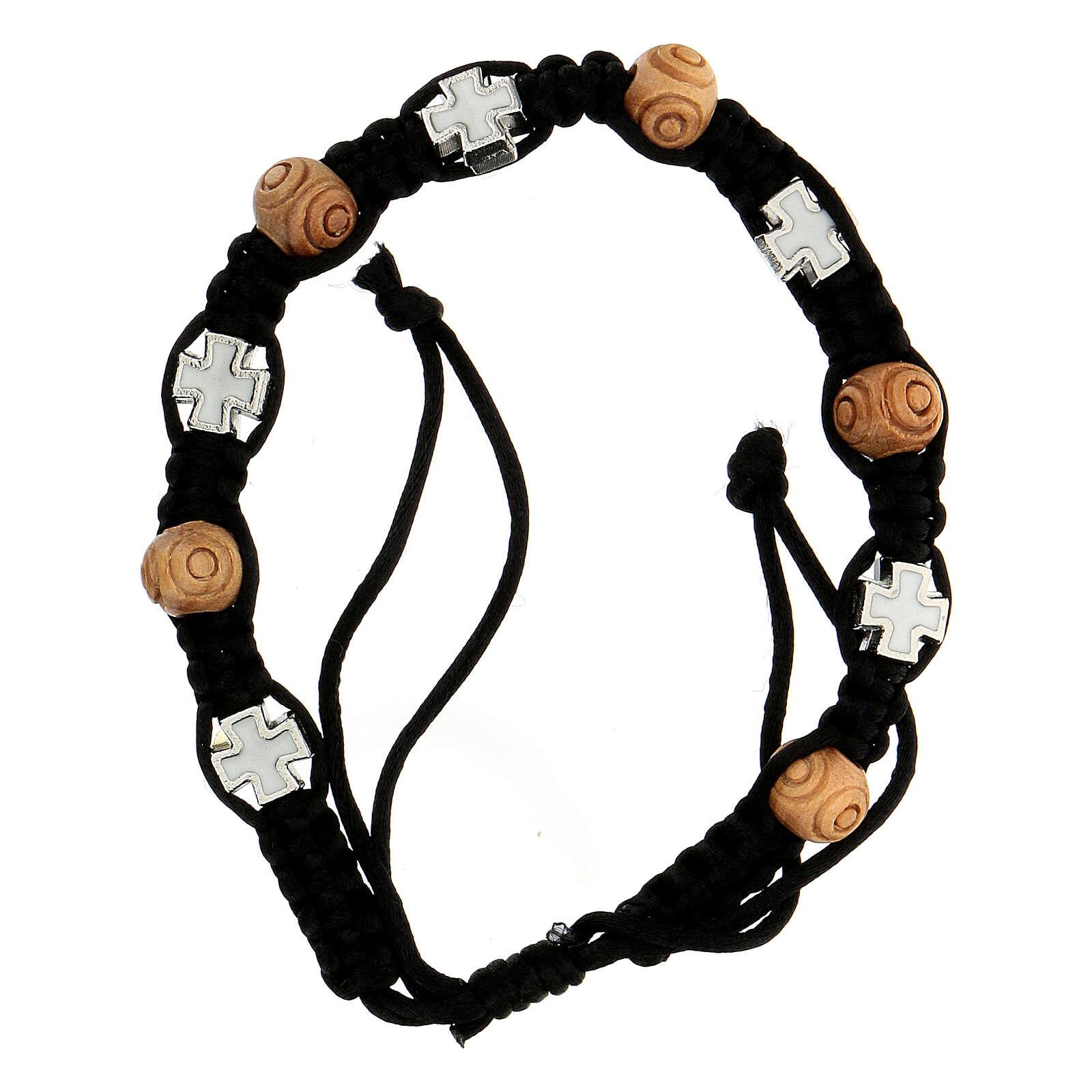 Bracciale decina corda nera regolabile grani legno crocetta bianca 8x6 mm 4