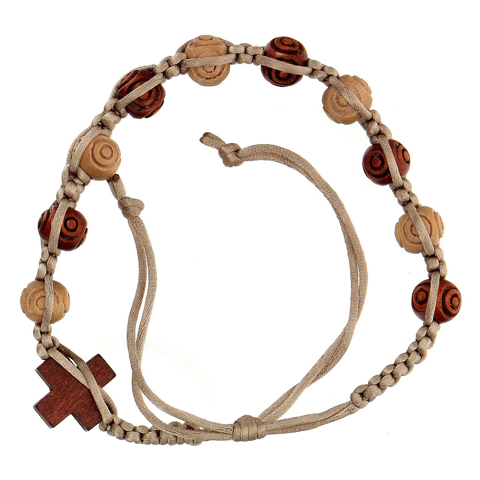 Bracelet dizainier corde réglable beige grains bois 8x7 mm 4