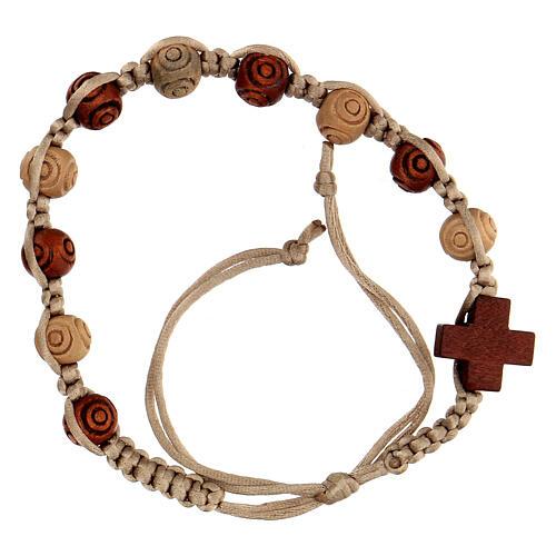 Bracelet dizainier corde réglable beige grains bois 8x7 mm 1
