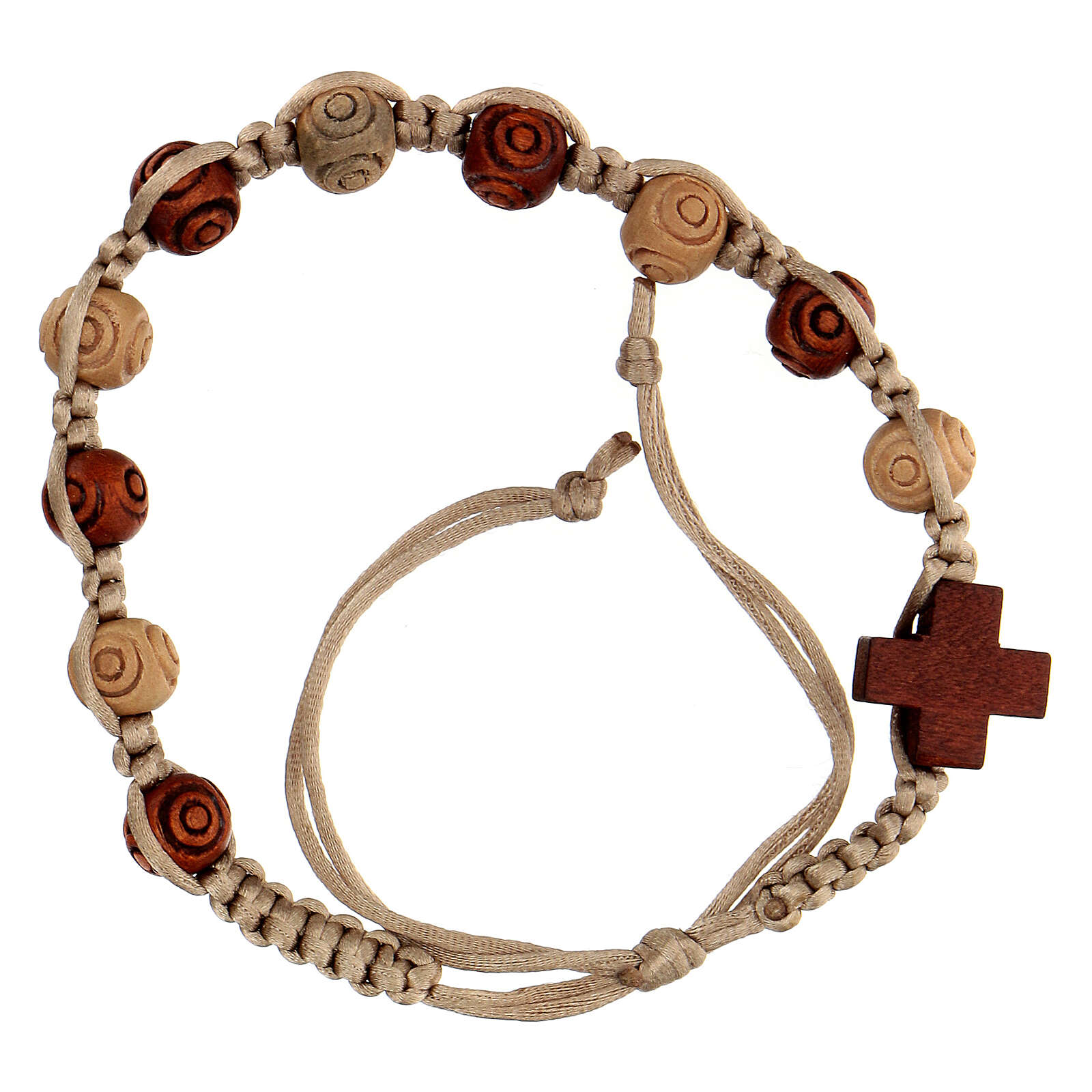 Rosary bracelet with beige string wooden beads, adjustable 8x7 mm 4