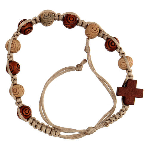 Rosary bracelet with beige string wooden beads, adjustable 8x7 mm 1