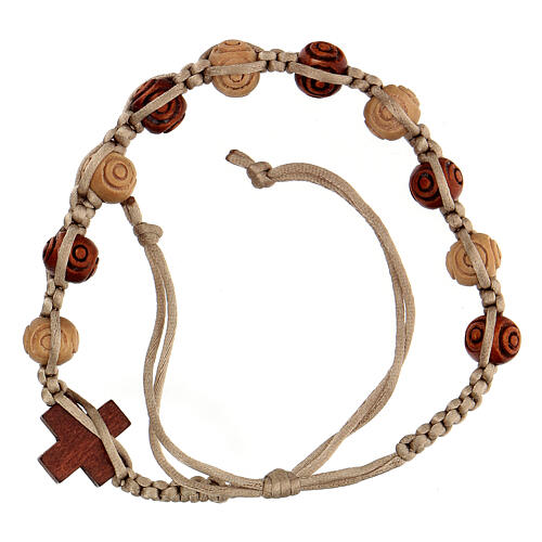 Rosary bracelet with beige string wooden beads, adjustable 8x7 mm 2