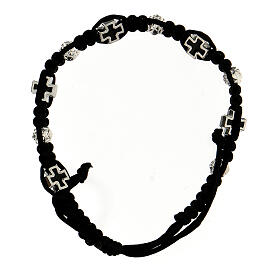 Rosary bracelet black braided rope with rosebud beads 6x7mm and enameled crosses s2