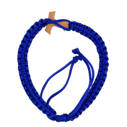 Pulsera decena de cuerda azul ajustable con cruz tau madera 2