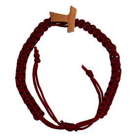 Pulsera decena de cuerda roja ajustable con cruz tau s1