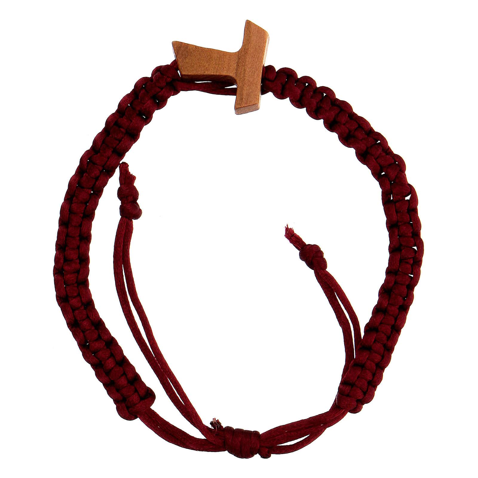 Bracciale decina in corda rossa regolabile con croce tau  4
