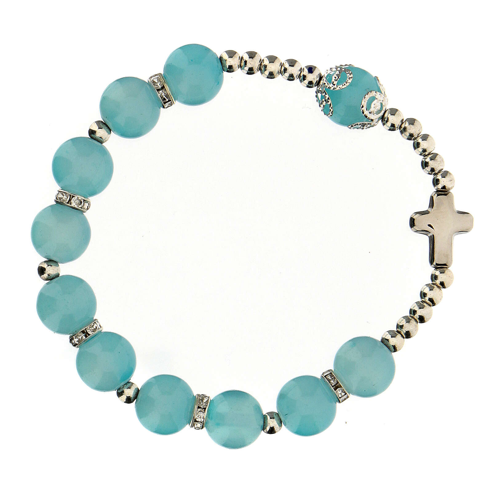 Decade rosary bracelet with round glass beads 10x10 mm 4