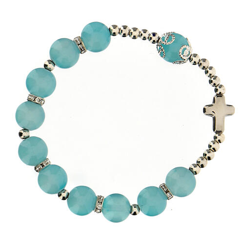Decade rosary bracelet with round glass beads 10x10 mm 1