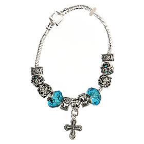 Bracelet dizainier grains 8x10 mm en cristal métal croix pendentif bleu clair s1