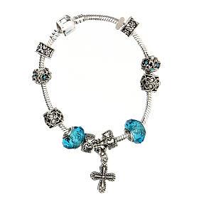 Bracelet dizainier grains 8x10 mm en cristal métal croix pendentif bleu clair s2