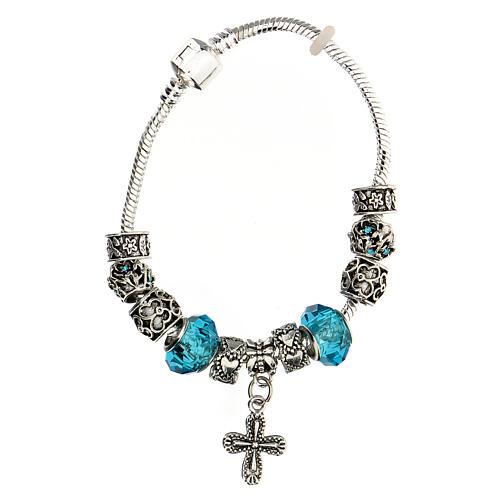 Bracelet dizainier grains 8x10 mm en cristal métal croix pendentif bleu clair 1