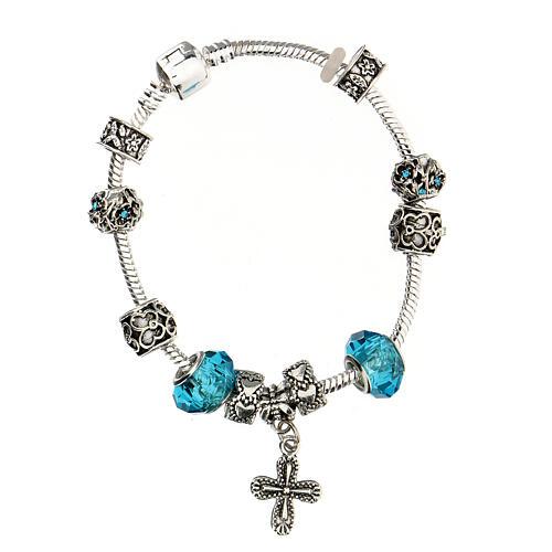 Bracelet dizainier grains 8x10 mm en cristal métal croix pendentif bleu clair 2