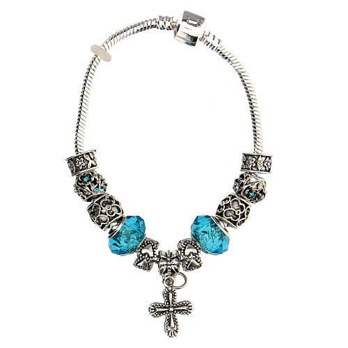 Bracelet dizainier grains 8x10 mm en cristal métal croix pendentif bleu clair 3