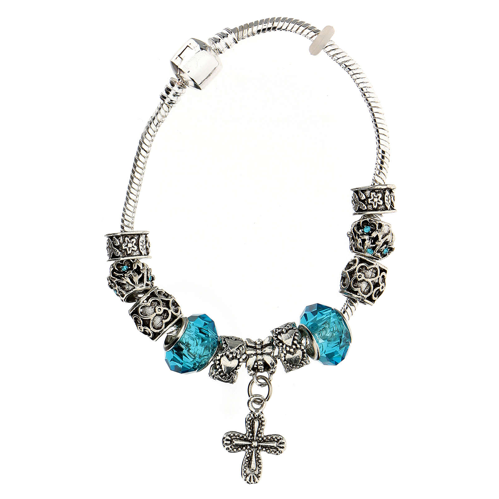 Rosary charm bracelet 8x10 mm metal cross charm blue crystals 4