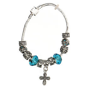 Rosary charm bracelet 8x10 mm metal cross charm blue crystals s1