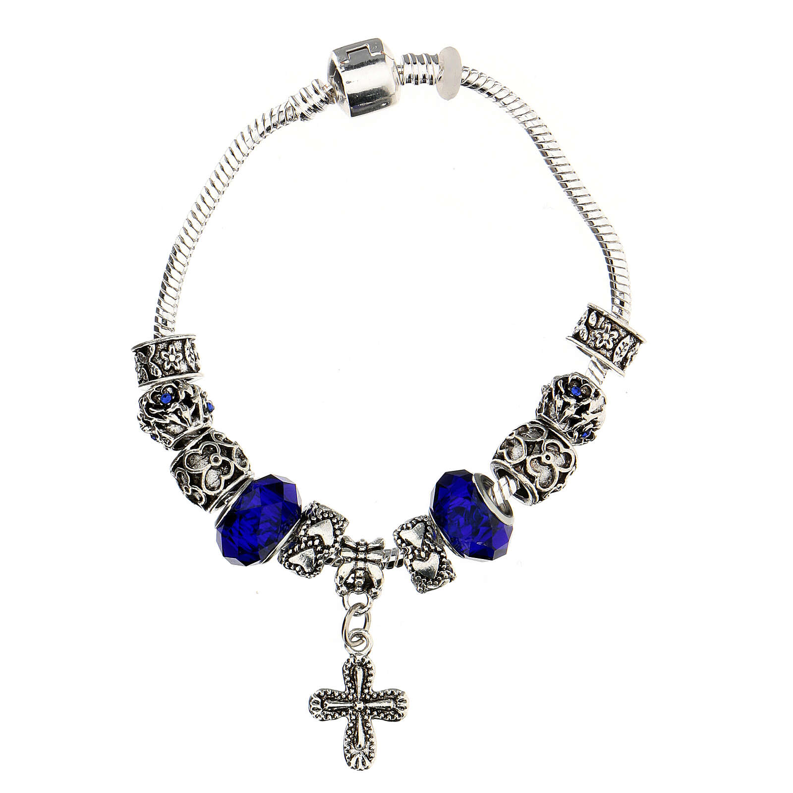 Rosary bracelet with 8x10 mm blue crystal and metal beads 4