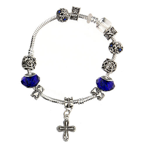 Rosary bracelet with 8x10 mm blue crystal and metal beads 2