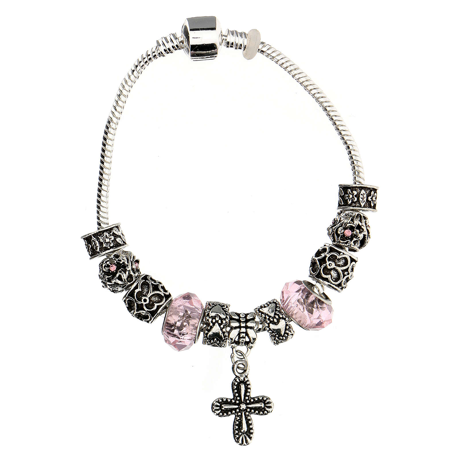 Rosary bracelet with pink beads 8x10 mm crystal and metal 4