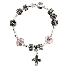 Rosary bracelet with pink beads 8x10 mm crystal and metal s2