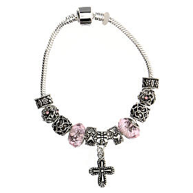 Rosary bracelet with pink beads 8x10 mm crystal and metal s3