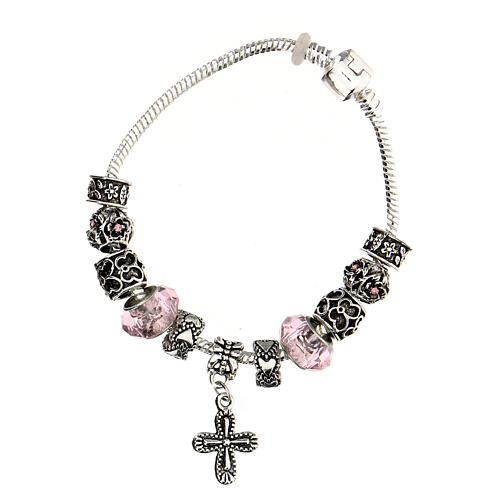 Rosary bracelet with pink beads 8x10 mm crystal and metal 1