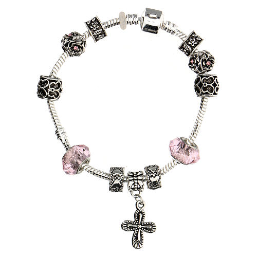 Rosary bracelet with pink beads 8x10 mm crystal and metal 2