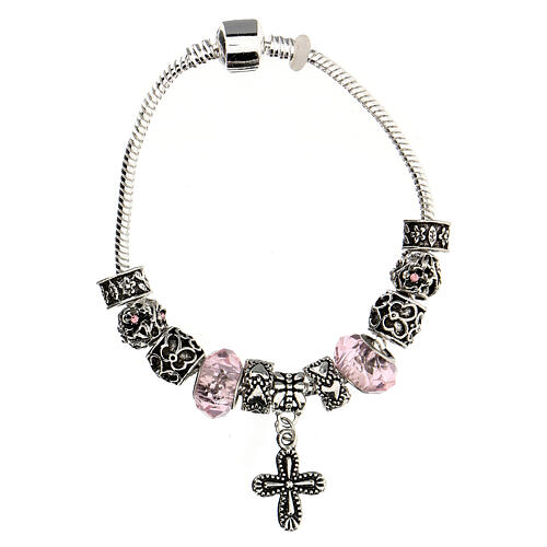Rosary bracelet with pink beads 8x10 mm crystal and metal 3