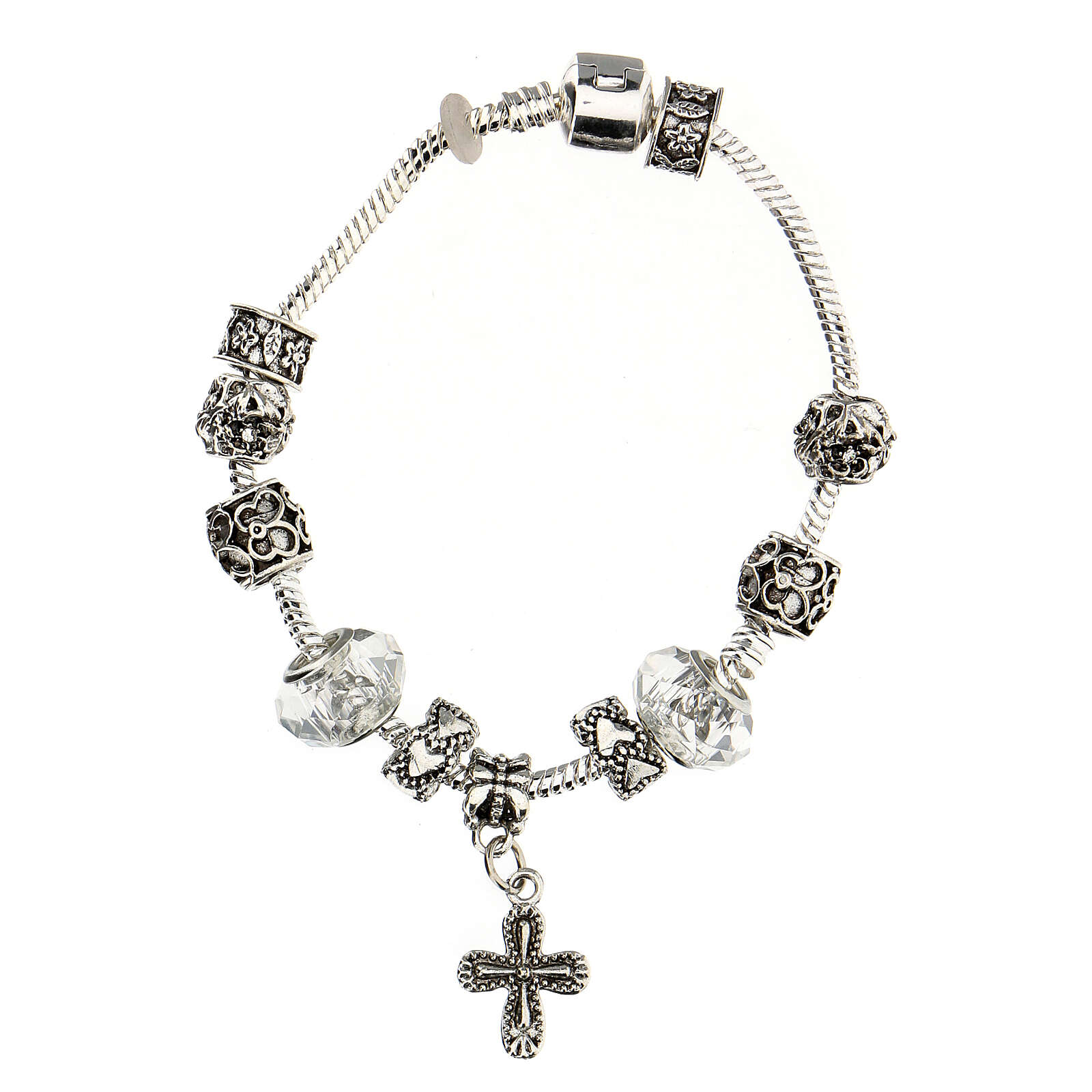 Rosary bracelet with 8x10 mm transparent crystal beads 4