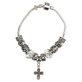 Rosary bracelet with 8x10 mm transparent crystal beads s1