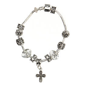 Rosary bracelet with 8x10 mm transparent crystal beads s2