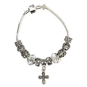 Rosary bracelet with 8x10 mm transparent crystal beads s3