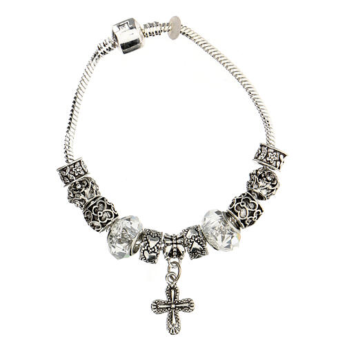 Rosary bracelet with 8x10 mm transparent crystal beads 3