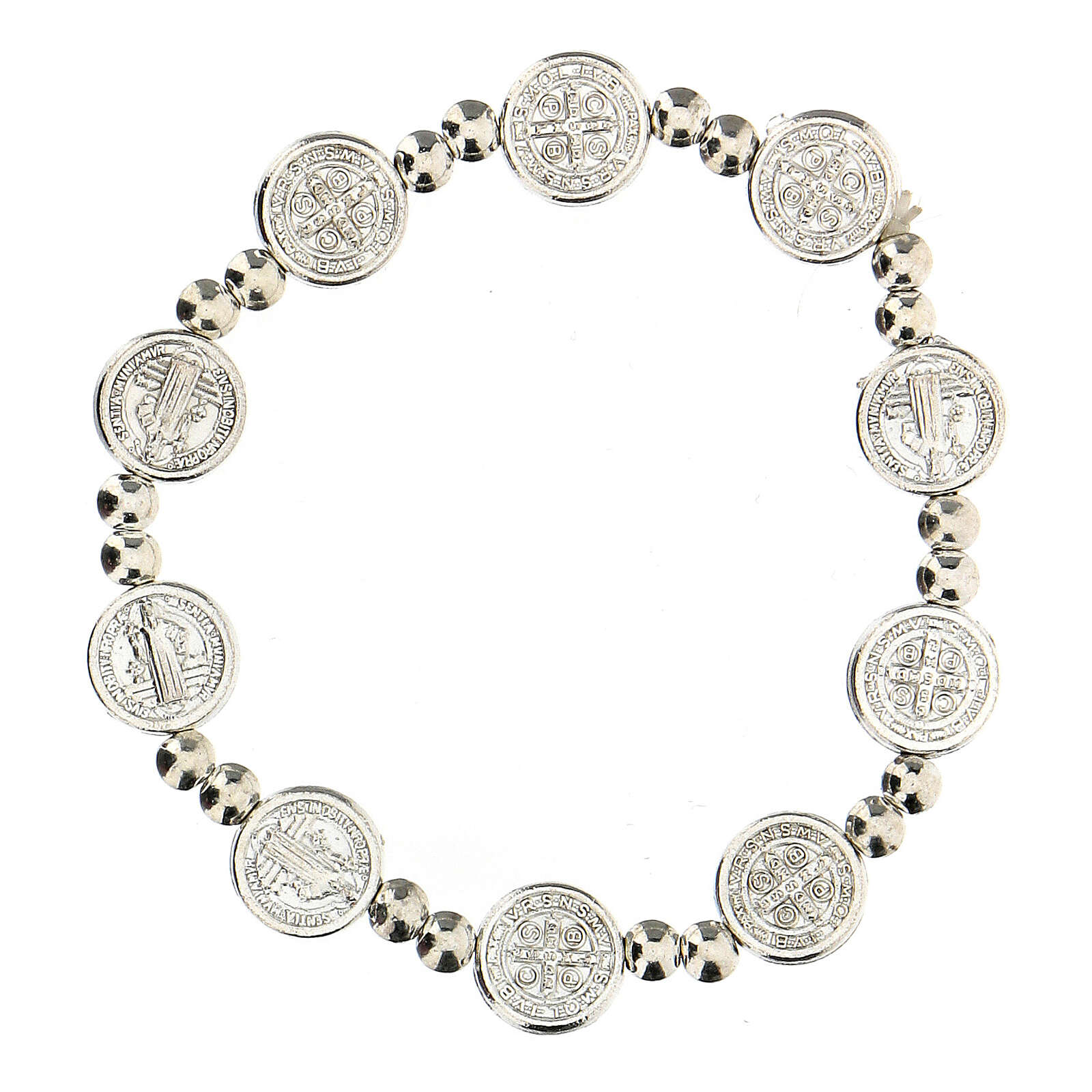 Decade rosary bracelet with silver zamac medals 4