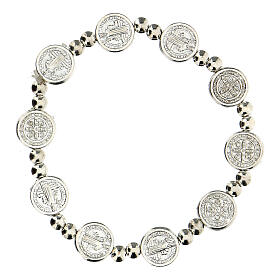 Decade rosary bracelet with silver zamac medals s1