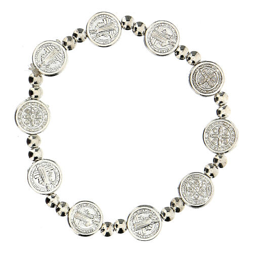 Decade rosary bracelet with silver zamac medals 1