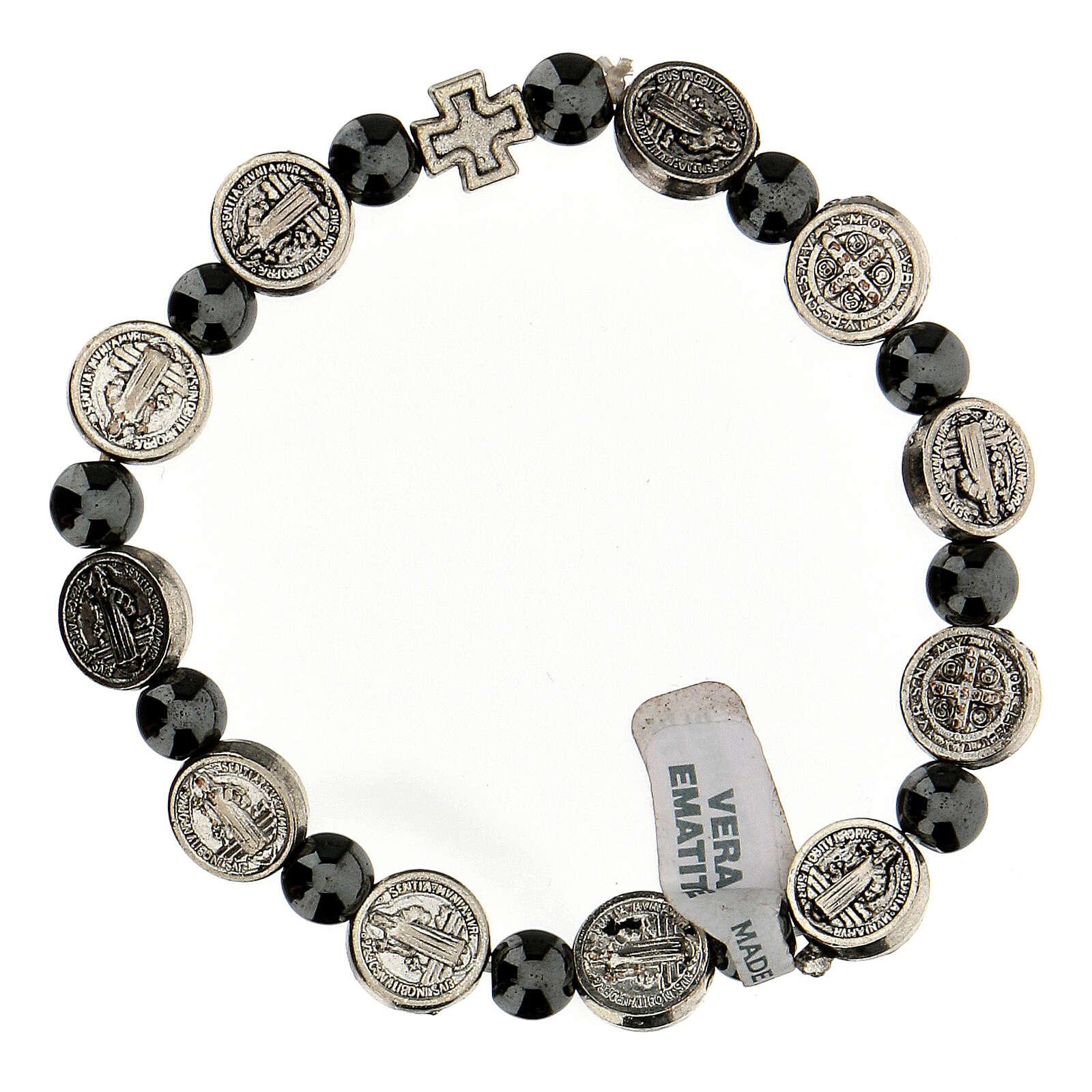 Bracelet dizainier en hématite 7 mm avec médailles en zamak 4