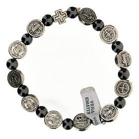 Bracelet dizainier en hématite 7 mm avec médailles en zamak s1
