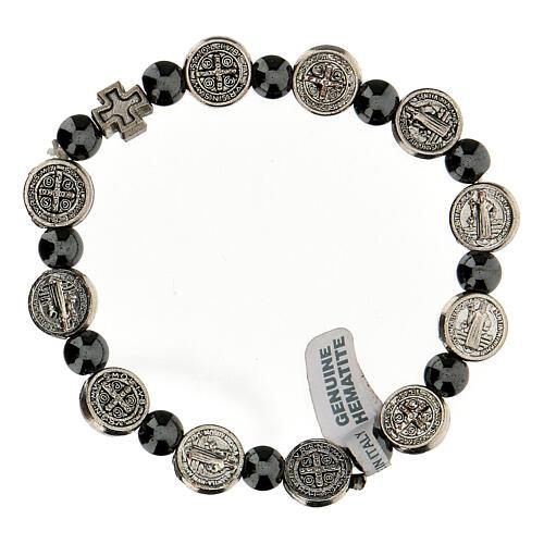 Bracelet dizainier en hématite 7 mm avec médailles en zamak 2
